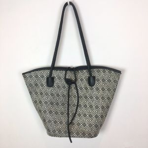 Neiman Marcus large shoulder tote bag black white
